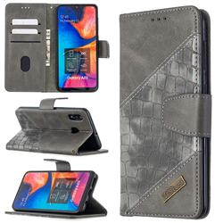 BinfenColor BF04 Color Block Stitching Crocodile Leather Case Cover for Samsung Galaxy A30 - Gray