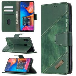 BinfenColor BF04 Color Block Stitching Crocodile Leather Case Cover for Samsung Galaxy A30 - Green