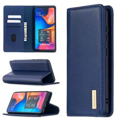 Binfen Color BF06 Luxury Classic Genuine Leather Detachable Magnet Holster Cover for Samsung Galaxy A30 - Blue