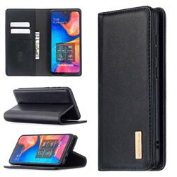 Binfen Color BF06 Luxury Classic Genuine Leather Detachable Magnet Holster Cover for Samsung Galaxy A30 - Black