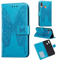 Intricate Embossing Vivid Butterfly Leather Wallet Case for Samsung Galaxy A30 - Blue