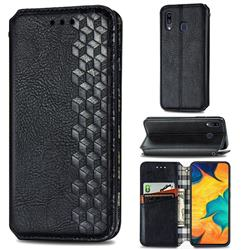 Ultra Slim Fashion Business Card Magnetic Automatic Suction Leather Flip Cover for Samsung Galaxy A30 - Black