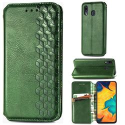 Ultra Slim Fashion Business Card Magnetic Automatic Suction Leather Flip Cover for Samsung Galaxy A30 - Green
