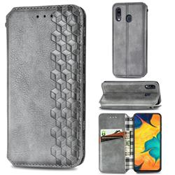 Ultra Slim Fashion Business Card Magnetic Automatic Suction Leather Flip Cover for Samsung Galaxy A30 - Grey