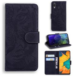 Intricate Embossing Tiger Face Leather Wallet Case for Samsung Galaxy A30 - Black