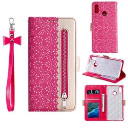 Luxury Lace Zipper Stitching Leather Phone Wallet Case for Samsung Galaxy A30 - Rose