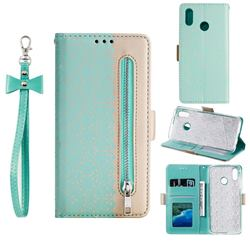 Luxury Lace Zipper Stitching Leather Phone Wallet Case for Samsung Galaxy A30 - Green
