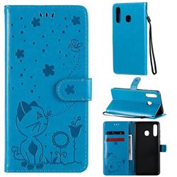 Embossing Bee and Cat Leather Wallet Case for Samsung Galaxy A30 - Blue