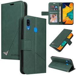 GQ.UTROBE Right Angle Silver Pendant Leather Wallet Phone Case for Samsung Galaxy A30 - Green