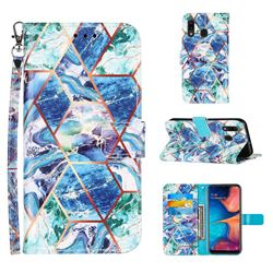 Green and Blue Stitching Color Marble Leather Wallet Case for Samsung Galaxy A30
