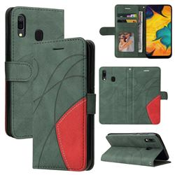 Luxury Two-color Stitching Leather Wallet Case Cover for Samsung Galaxy A30 - Green