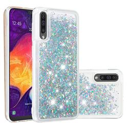 Dynamic Liquid Glitter Quicksand Sequins TPU Phone Case for Samsung Galaxy A30s - Silver