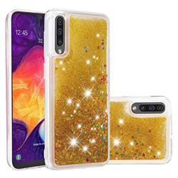 Dynamic Liquid Glitter Quicksand Sequins TPU Phone Case for Samsung Galaxy A30s - Golden