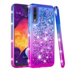Diamond Frame Liquid Glitter Quicksand Sequins Phone Case for Samsung Galaxy A30s - Blue Purple