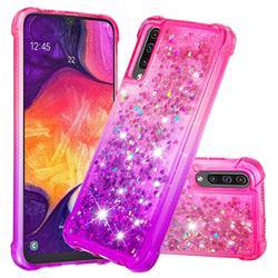 Rainbow Gradient Liquid Glitter Quicksand Sequins Phone Case for Samsung Galaxy A30s - Pink Purple