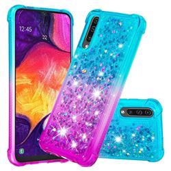 Rainbow Gradient Liquid Glitter Quicksand Sequins Phone Case for Samsung Galaxy A30s - Blue Purple