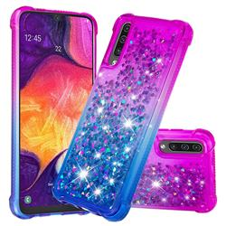 Rainbow Gradient Liquid Glitter Quicksand Sequins Phone Case for Samsung Galaxy A30s - Purple Blue