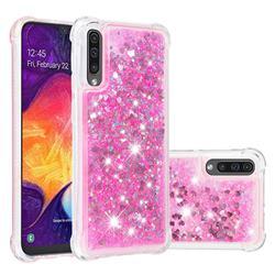 Dynamic Liquid Glitter Sand Quicksand TPU Case for Samsung Galaxy A30s - Pink Love Heart