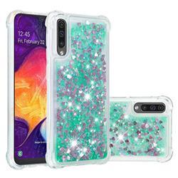 Dynamic Liquid Glitter Sand Quicksand TPU Case for Samsung Galaxy A30s - Green Love Heart