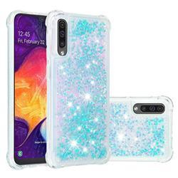 Dynamic Liquid Glitter Sand Quicksand TPU Case for Samsung Galaxy A30s - Silver Blue Star