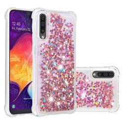 Dynamic Liquid Glitter Sand Quicksand TPU Case for Samsung Galaxy A30s - Rose Gold Love Heart