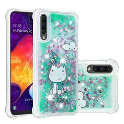 Tiny Unicorn Dynamic Liquid Glitter Sand Quicksand Star TPU Case for Samsung Galaxy A30s