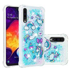 Fashion Unicorn Dynamic Liquid Glitter Sand Quicksand Star TPU Case for Samsung Galaxy A30s