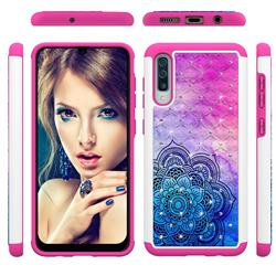 Colored Mandala Studded Rhinestone Bling Diamond Shock Absorbing Hybrid Defender Rugged Phone Case Cover for Samsung Galaxy A30s