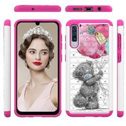 Gray Bear Studded Rhinestone Bling Diamond Shock Absorbing Hybrid Defender Rugged Phone Case Cover for Samsung Galaxy A30s
