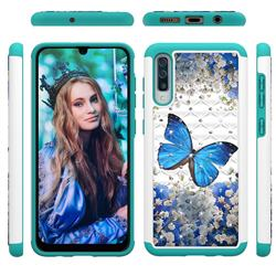 Flower Butterfly Studded Rhinestone Bling Diamond Shock Absorbing Hybrid Defender Rugged Phone Case Cover for Samsung Galaxy A30s