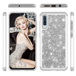 Glitter Rhinestone Bling Shock Absorbing Hybrid Defender Rugged Phone Case Cover for Samsung Galaxy A30s - Gray