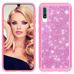 Glitter Rhinestone Bling Shock Absorbing Hybrid Defender Rugged Phone Case Cover for Samsung Galaxy A30s - Pink
