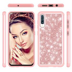 Glitter Rhinestone Bling Shock Absorbing Hybrid Defender Rugged Phone Case Cover for Samsung Galaxy A30s - Rose Gold