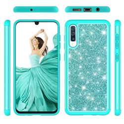 Glitter Rhinestone Bling Shock Absorbing Hybrid Defender Rugged Phone Case Cover for Samsung Galaxy A30s - Green