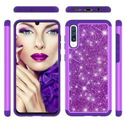 Glitter Rhinestone Bling Shock Absorbing Hybrid Defender Rugged Phone Case Cover for Samsung Galaxy A30s - Purple