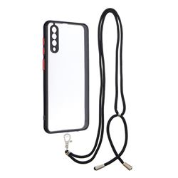 Necklace Cross-body Lanyard Strap Cord Phone Case Cover for Samsung Galaxy A30s - Black