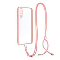Necklace Cross-body Lanyard Strap Cord Phone Case Cover for Samsung Galaxy A30s - Pink