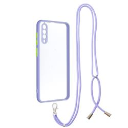Necklace Cross-body Lanyard Strap Cord Phone Case Cover for Samsung Galaxy A30s - Purple