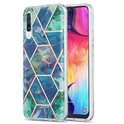 Blue Green Marble Pattern Galvanized Electroplating Protective Case Cover for Samsung Galaxy A30s