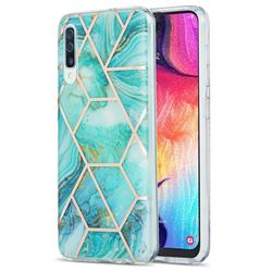 Blue Sea Marble Pattern Galvanized Electroplating Protective Case Cover for Samsung Galaxy A30s
