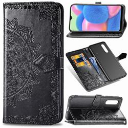 Embossing Imprint Mandala Flower Leather Wallet Case for Samsung Galaxy A30s - Black