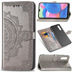Embossing Imprint Mandala Flower Leather Wallet Case for Samsung Galaxy A30s - Gray