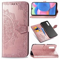 Embossing Imprint Mandala Flower Leather Wallet Case for Samsung Galaxy A30s - Rose Gold