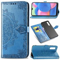 Embossing Imprint Mandala Flower Leather Wallet Case for Samsung Galaxy A30s - Blue