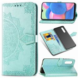 Embossing Imprint Mandala Flower Leather Wallet Case for Samsung Galaxy A30s - Green