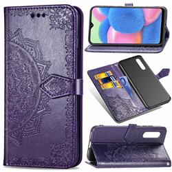 Embossing Imprint Mandala Flower Leather Wallet Case for Samsung Galaxy A30s - Purple