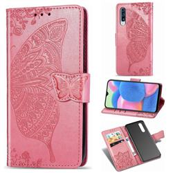 Embossing Mandala Flower Butterfly Leather Wallet Case for Samsung Galaxy A30s - Pink