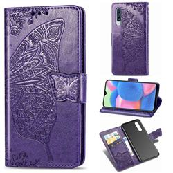 Embossing Mandala Flower Butterfly Leather Wallet Case for Samsung Galaxy A30s - Dark Purple