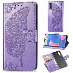 Embossing Mandala Flower Butterfly Leather Wallet Case for Samsung Galaxy A30s - Light Purple
