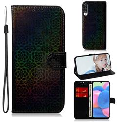 Laser Circle Shining Leather Wallet Phone Case for Samsung Galaxy A30s - Black